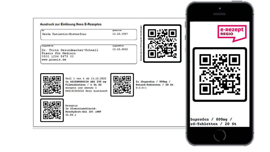Auf dem E-Rezept findet sich die Verordnung als praktischer scanbarer Code. Man nennt diesen Code auch Token. Diesen können Sie in der Apotheke abscannen lassen oder mit der e-Rezept REGIO App online einlösen.